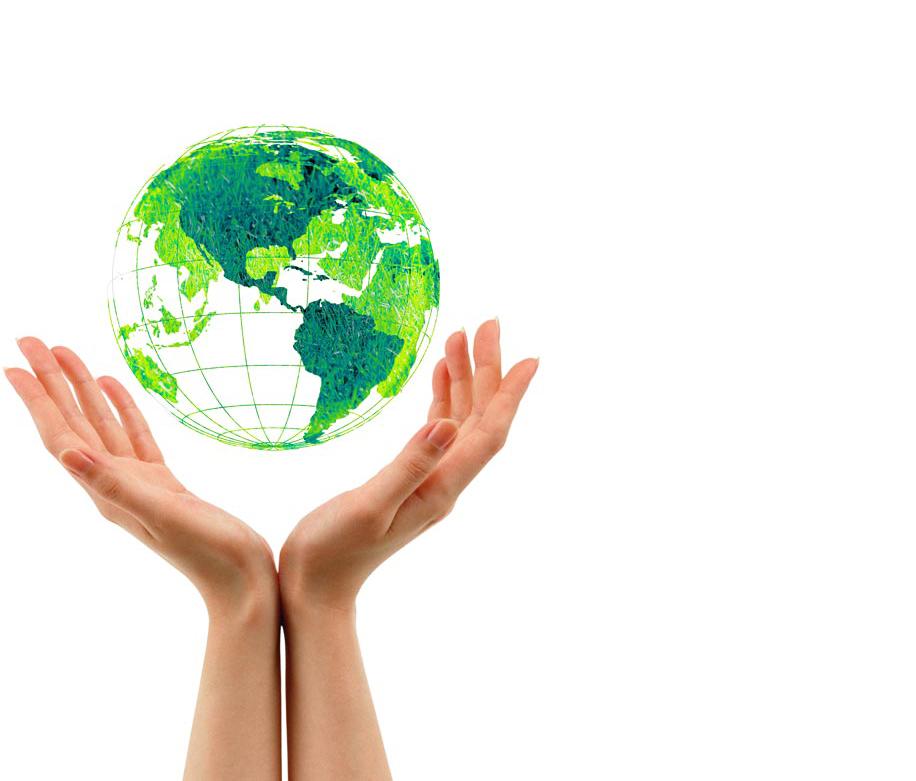 manos abrazando la bola del mundo en señal de respeto por la ecología