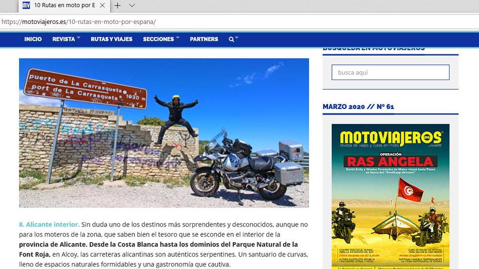 Motoviajeros, rutas por España